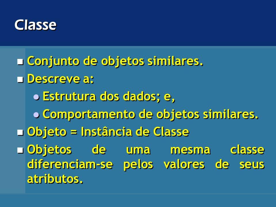 Classe Conjunto de objetos similares. Descreve a: