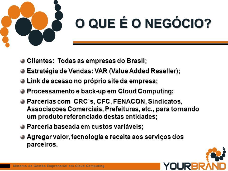 O QUE É O NEGÓCIO Clientes: Todas as empresas do Brasil;