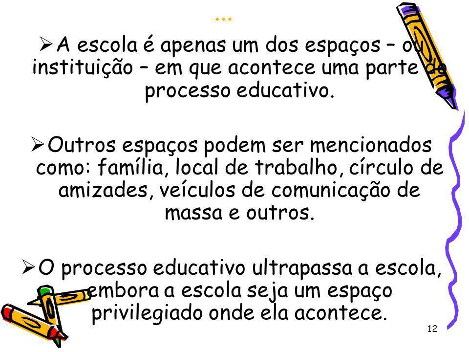 ...A escola é apenas um dos espaços – ou instituição – em que acontece uma parte do processo educativo.
