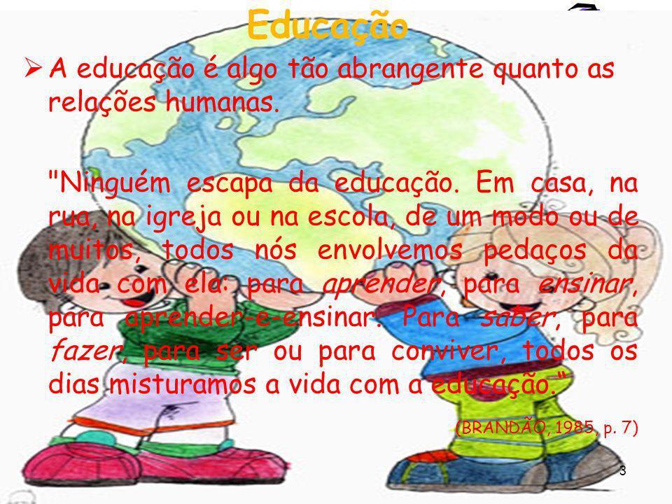 Educação A educação é algo tão abrangente quanto as relações humanas.