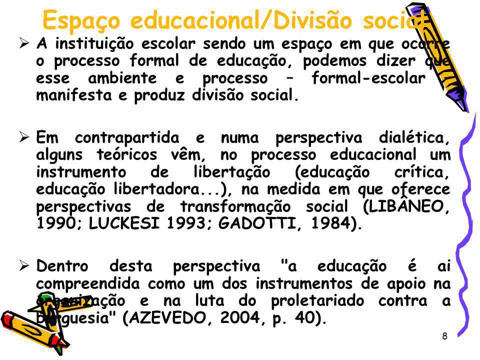 Espaço educacional/Divisão social