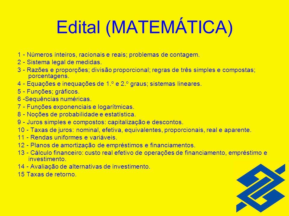 Edital (MATEMÁTICA) 1 - Números inteiros, racionais e reais; problemas de contagem. 2 - Sistema legal de medidas.