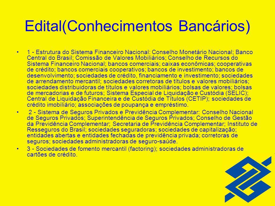 Edital(Conhecimentos Bancários)