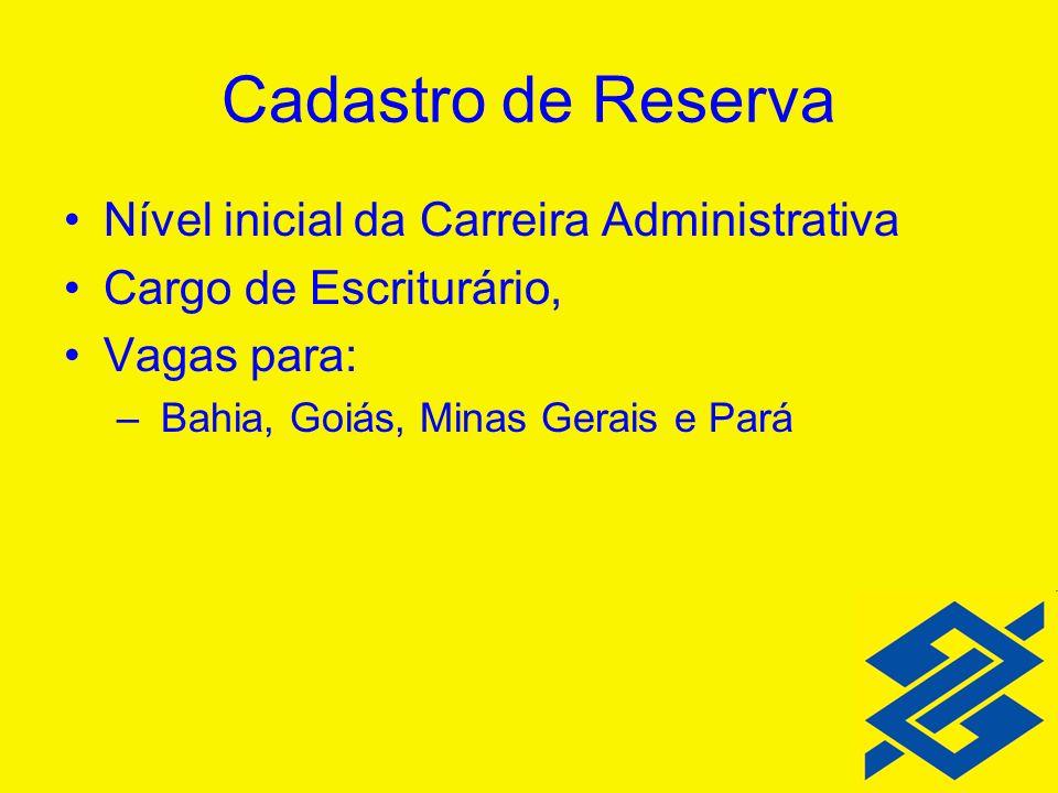 Cadastro de Reserva Nível inicial da Carreira Administrativa