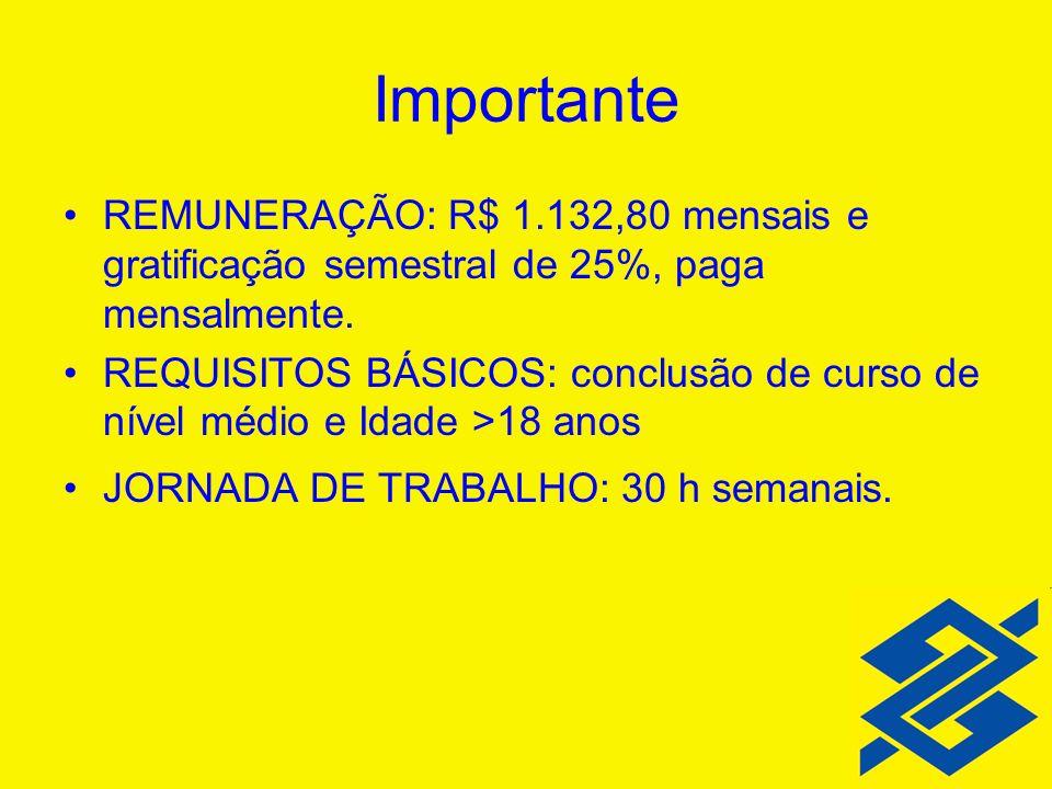 Importante REMUNERAÇÃO: R$ 1.132,80 mensais e gratificação semestral de 25%, paga mensalmente.