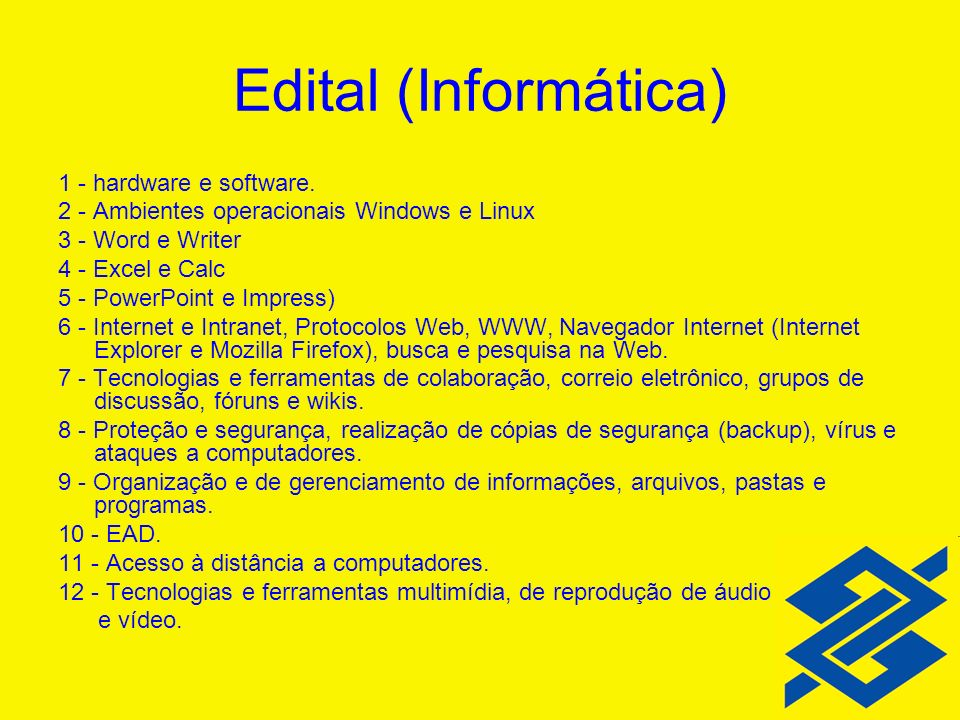 Edital (Informática) 1 - hardware e software.