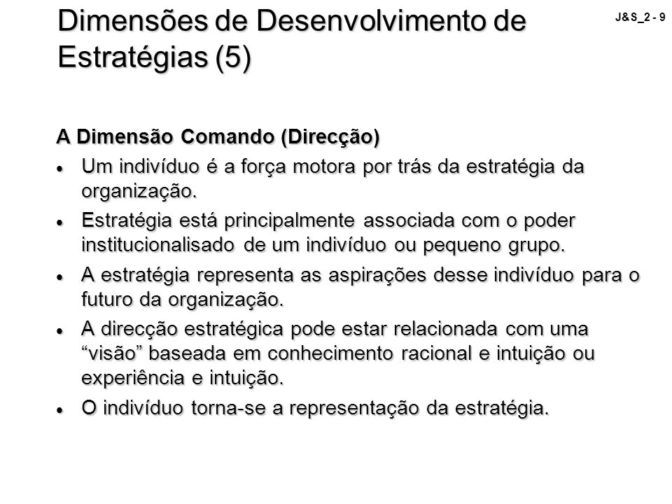 Dimensões de Desenvolvimento de Estratégias (5)