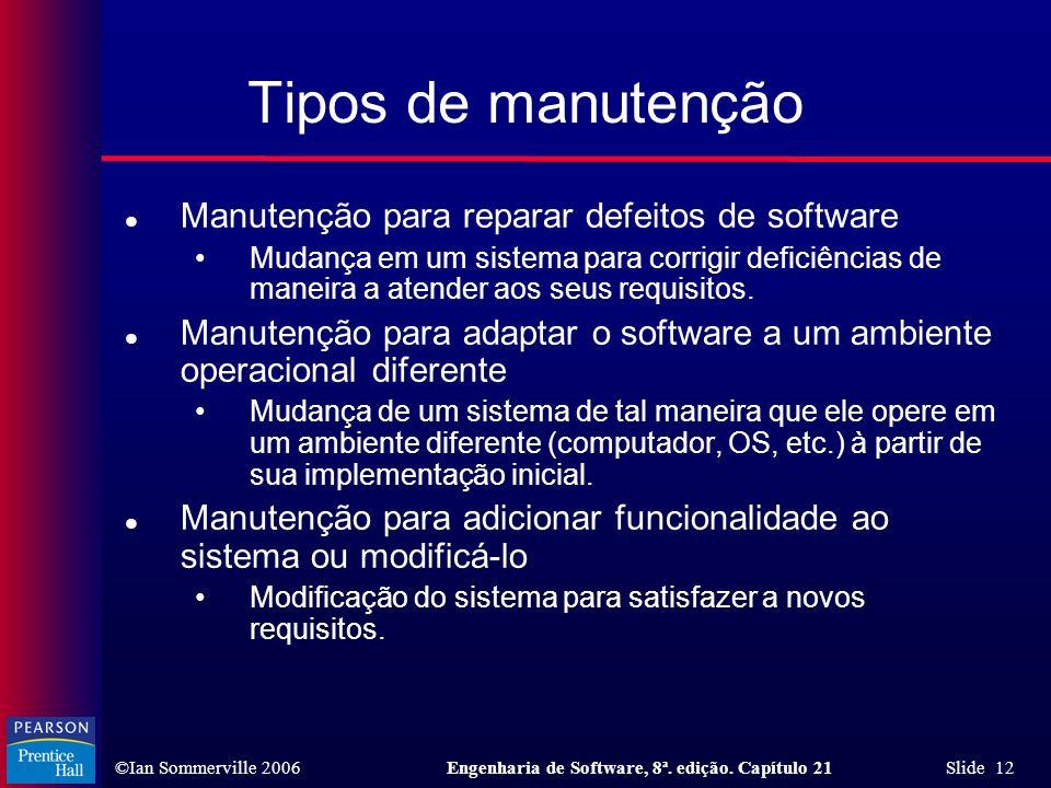 Tipos de manutenção Manutenção para reparar defeitos de software