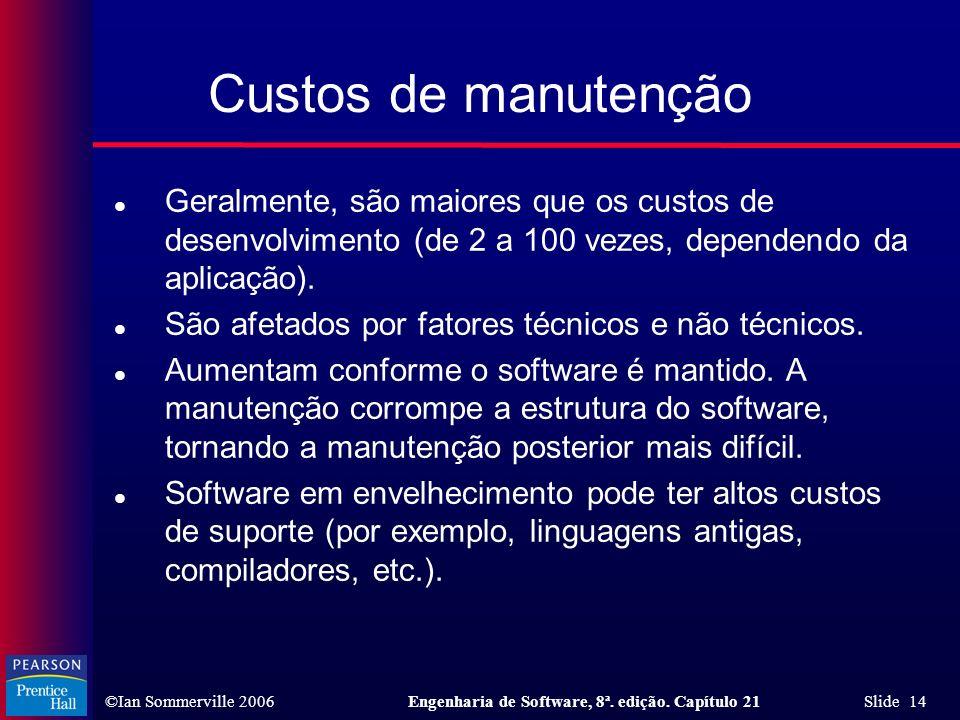 Custos de manutençãoGeralmente, são maiores que os custos de desenvolvimento (de 2 a 100 vezes, dependendo da aplicação).