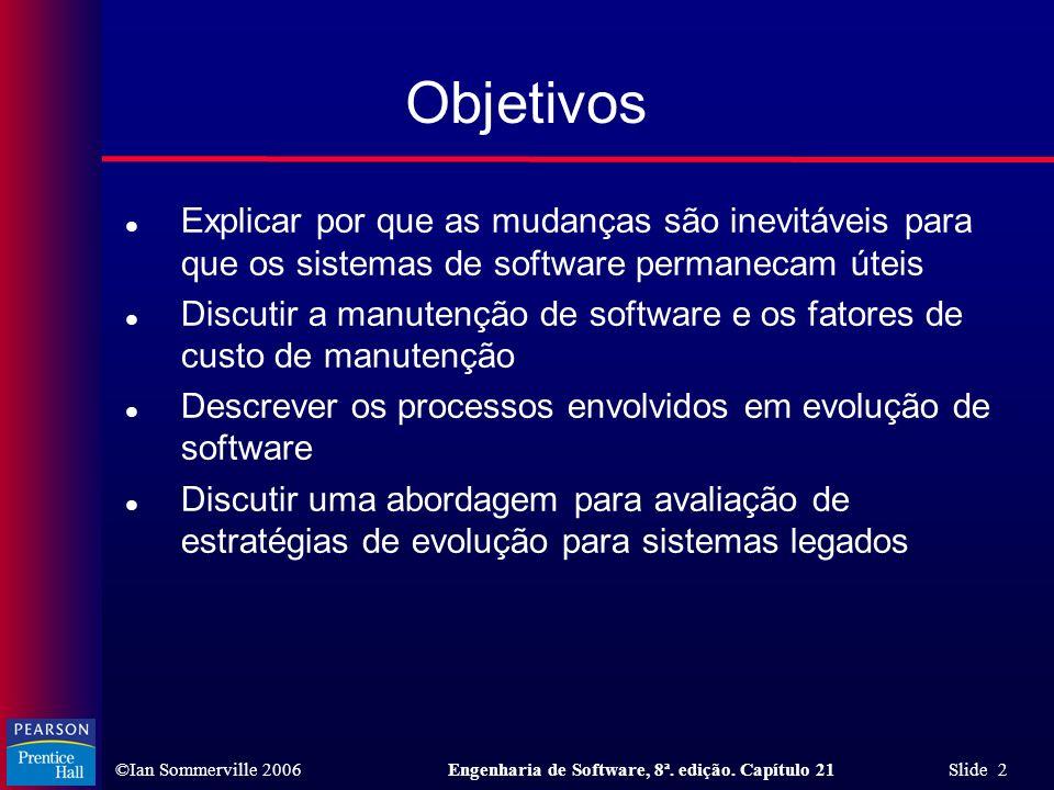 Objetivos Explicar por que as mudanças são inevitáveis para que os sistemas de software permanecam úteis.