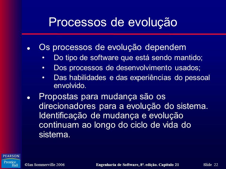 Processos de evolução Os processos de evolução dependem