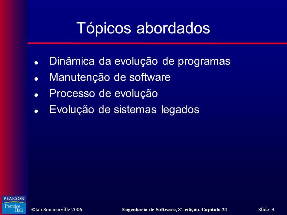 Tópicos abordados Dinâmica da evolução de programas