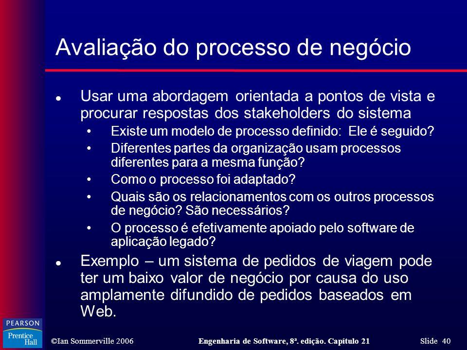 Avaliação do processo de negócio
