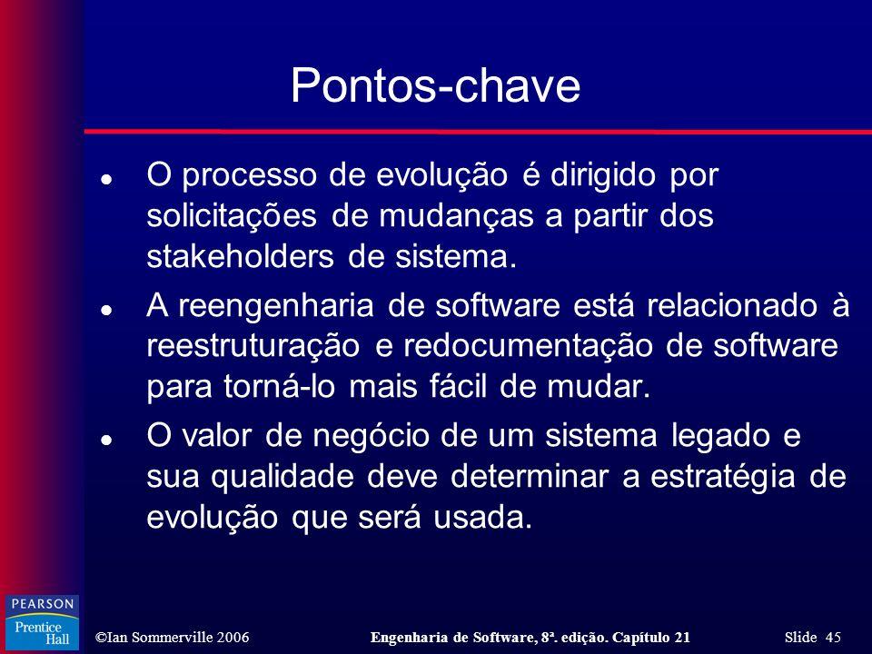 Pontos-chave O processo de evolução é dirigido por solicitações de mudanças a partir dos stakeholders de sistema.