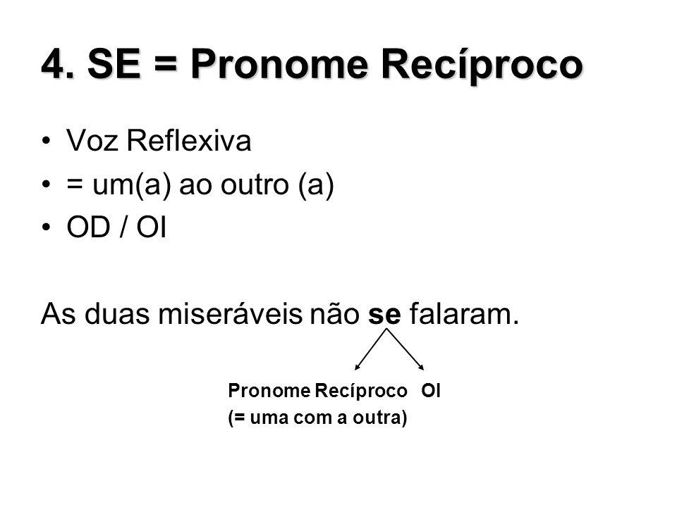 4. SE = Pronome Recíproco Voz Reflexiva = um(a) ao outro (a) OD / OI