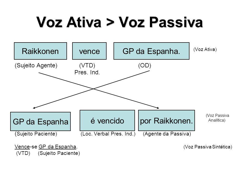 Voz Ativa > Voz Passiva
