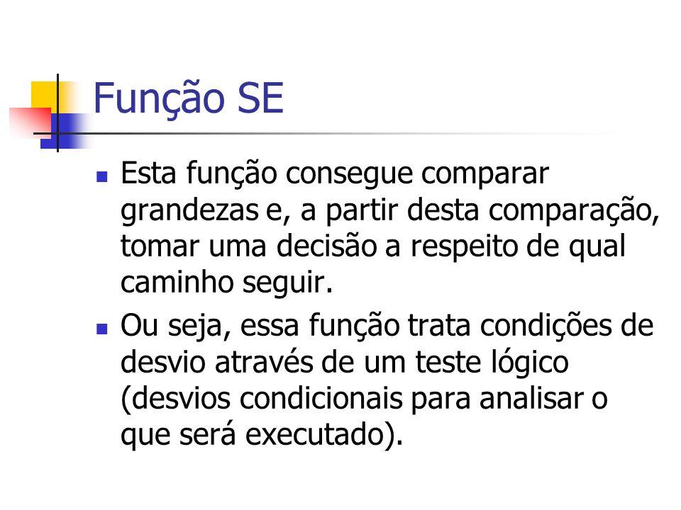 Função SE Esta função consegue comparar grandezas e, a partir desta comparação, tomar uma decisão a respeito de qual caminho seguir.