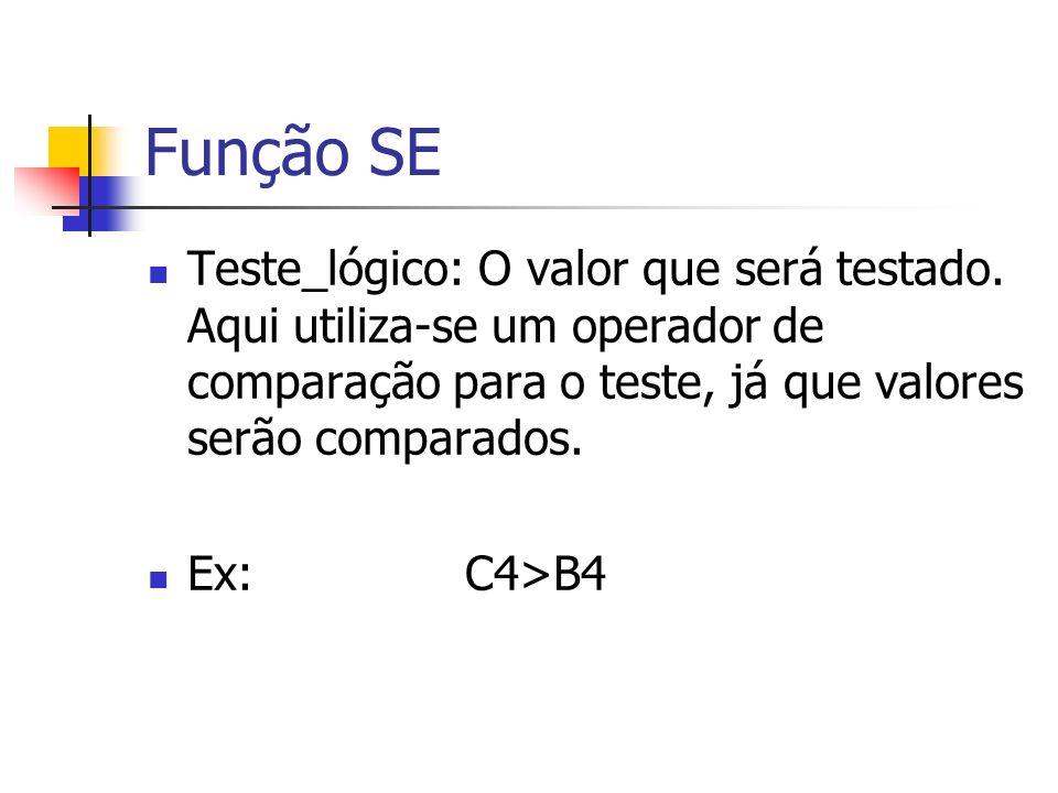 Função SE Teste_lógico: O valor que será testado. Aqui utiliza-se um operador de comparação para o teste, já que valores serão comparados.