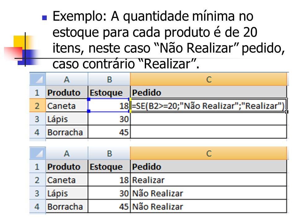 Exemplo: A quantidade mínima no estoque para cada produto é de 20 itens, neste caso Não Realizar pedido, caso contrário Realizar .