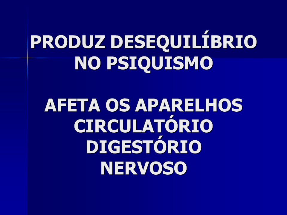 PRODUZ DESEQUILÍBRIO NO PSIQUISMO AFETA OS APARELHOS CIRCULATÓRIO DIGESTÓRIO NERVOSO