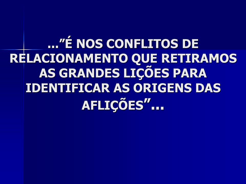 ... É NOS CONFLITOS DE RELACIONAMENTO QUE RETIRAMOS AS GRANDES LIÇÕES PARA IDENTIFICAR AS ORIGENS DAS AFLIÇÕES ...