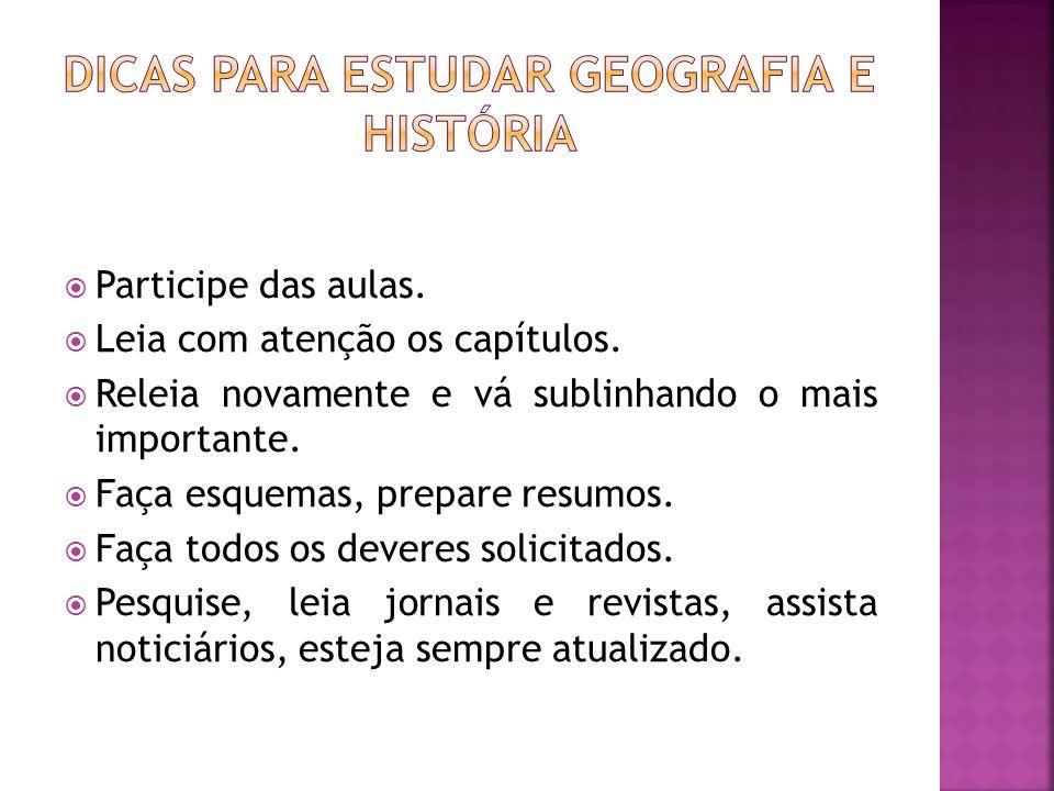 Dicas para estudar Geografia e história