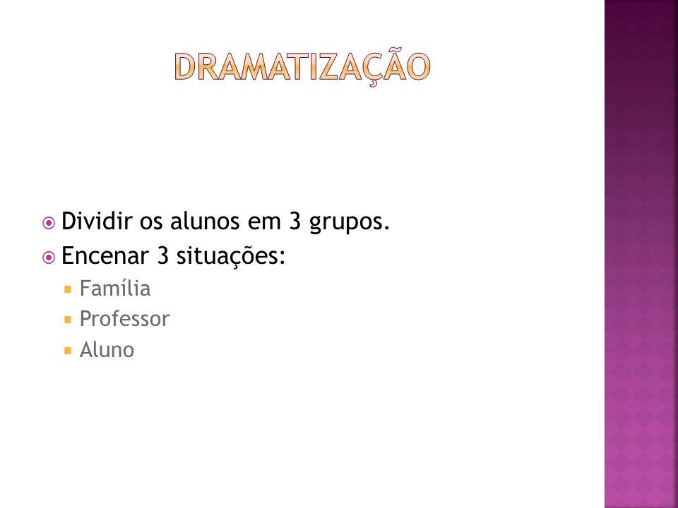 DRAMATIZAÇÃO Dividir os alunos em 3 grupos. Encenar 3 situações: