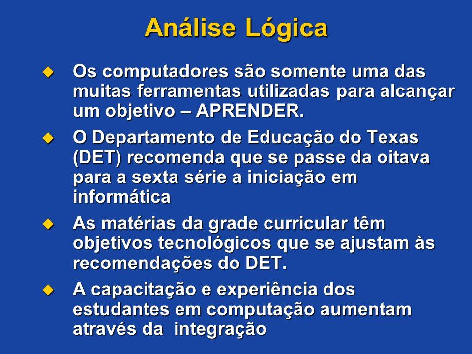 Análise Lógica Os computadores são somente uma das muitas ferramentas utilizadas para alcançar um objetivo – APRENDER.