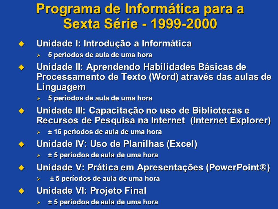 Programa de Informática para a Sexta Série - 1999-2000