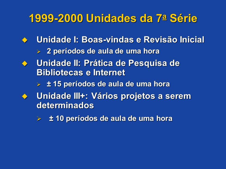 1999-2000 Unidades da 7a Série Unidade I: Boas-vindas e Revisão Inicial. 2 períodos de aula de uma hora.