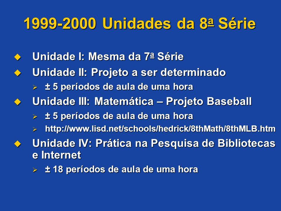 1999-2000 Unidades da 8a Série Unidade I: Mesma da 7a Série