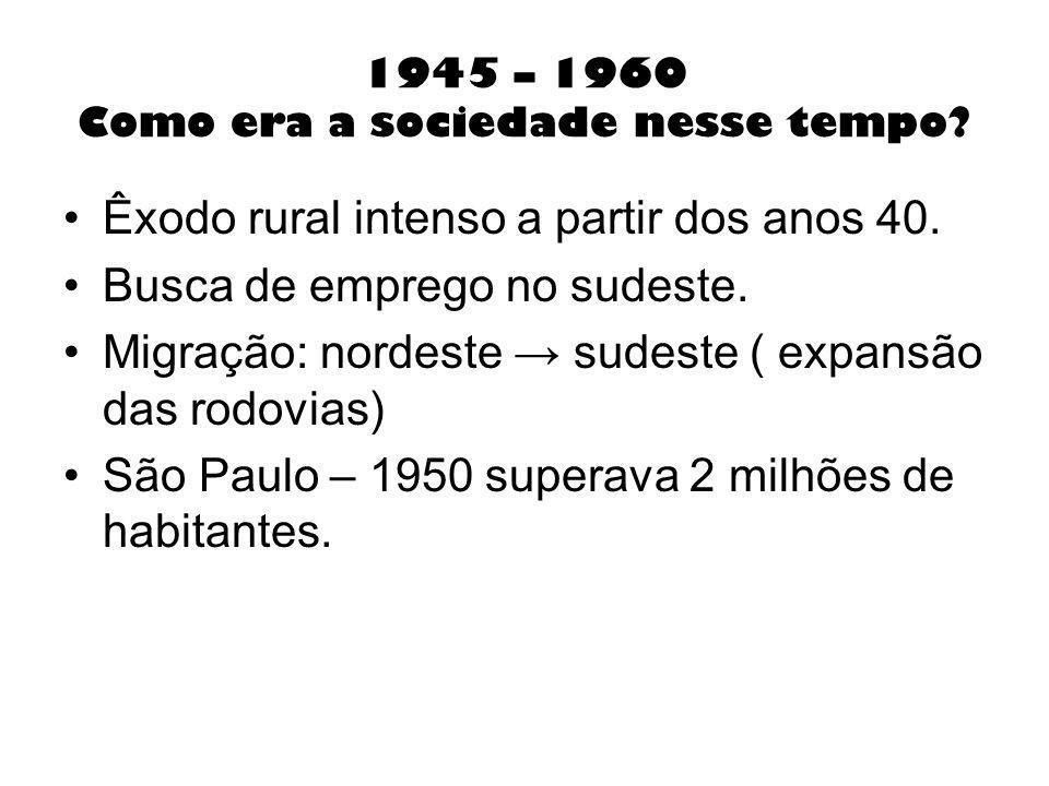1945 – 1960 Como era a sociedade nesse tempo