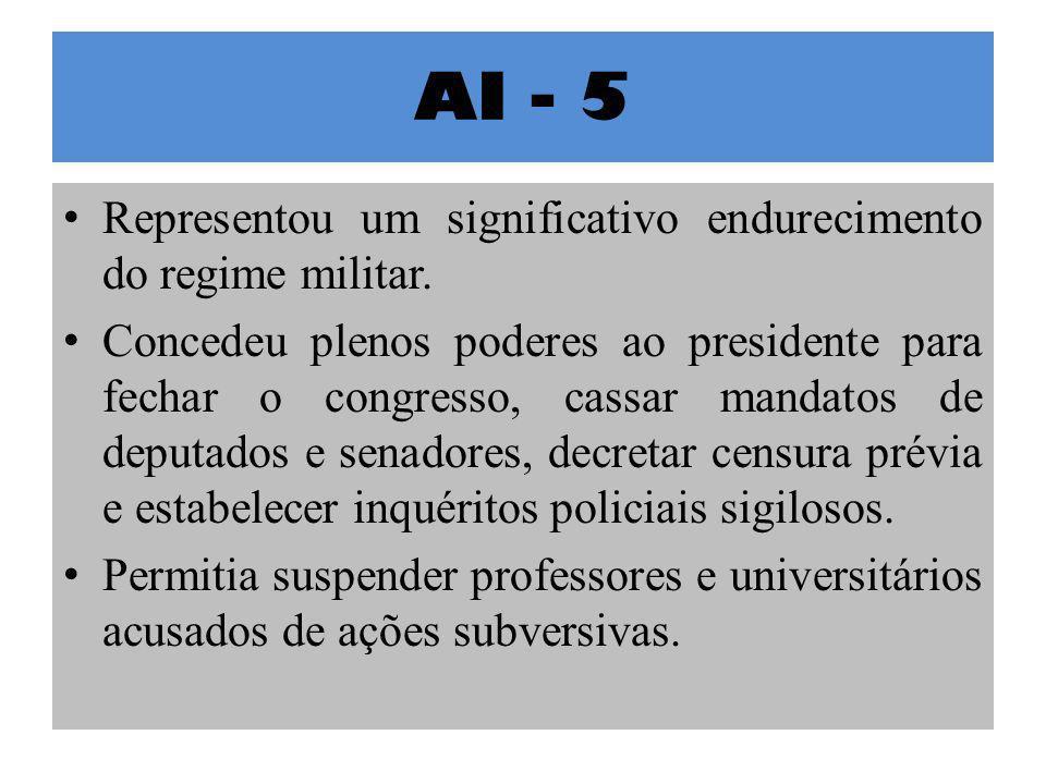 AI - 5 Representou um significativo endurecimento do regime militar.