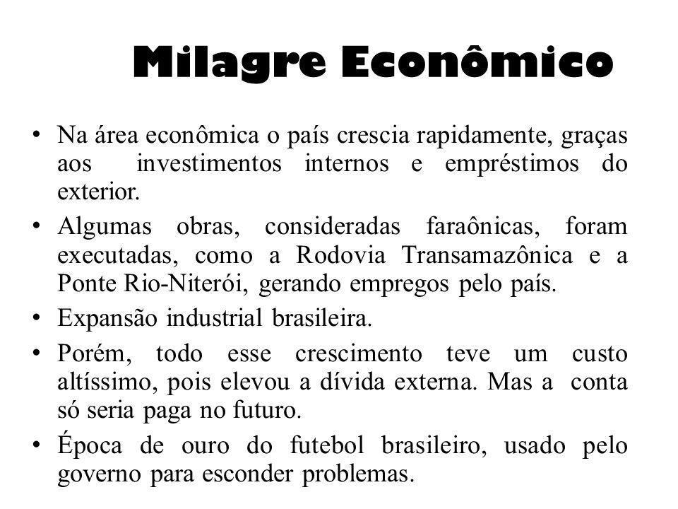 Milagre Econômico Na área econômica o país crescia rapidamente, graças aos investimentos internos e empréstimos do exterior.