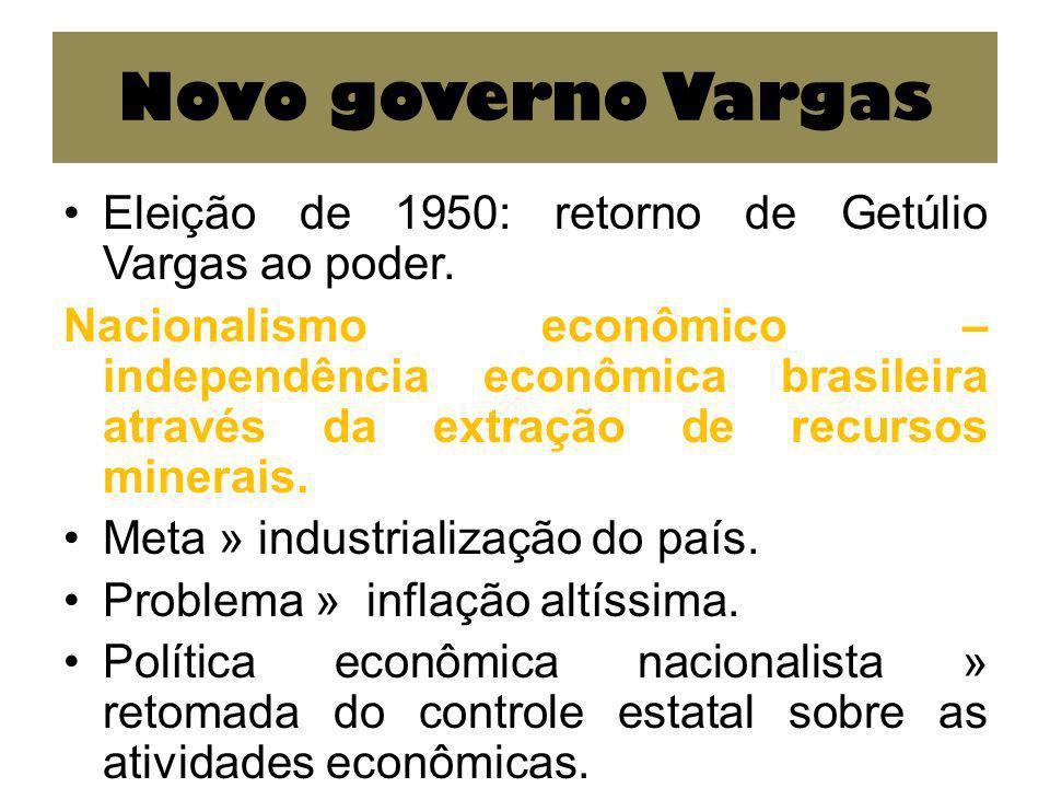 Novo governo Vargas Eleição de 1950: retorno de Getúlio Vargas ao poder.