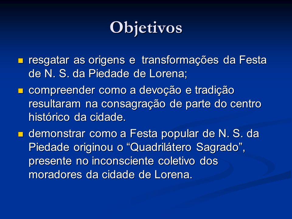Objetivos resgatar as origens e transformações da Festa de N. S. da Piedade de Lorena;