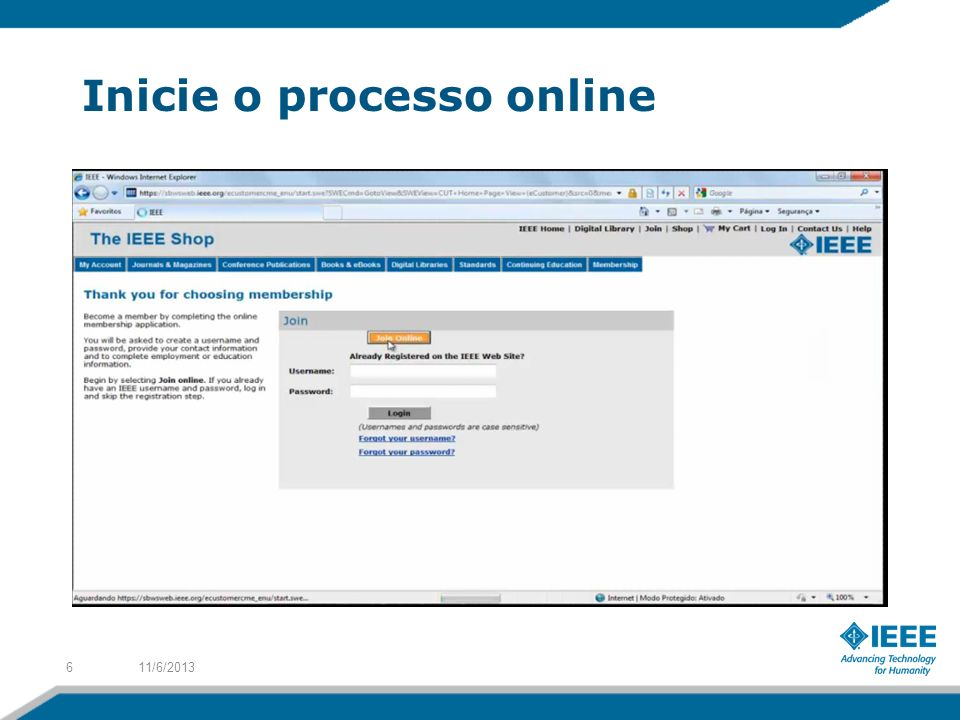 Inicie o processo online
