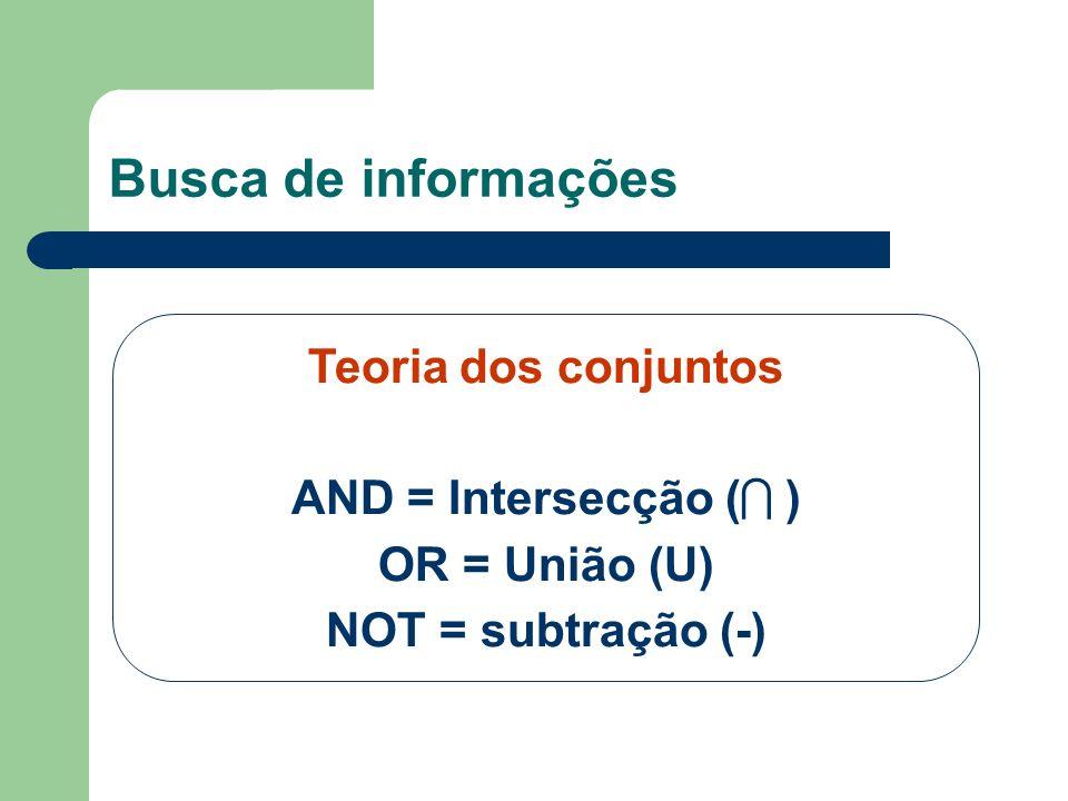 Busca de informações Teoria dos conjuntos AND = Intersecção ( )