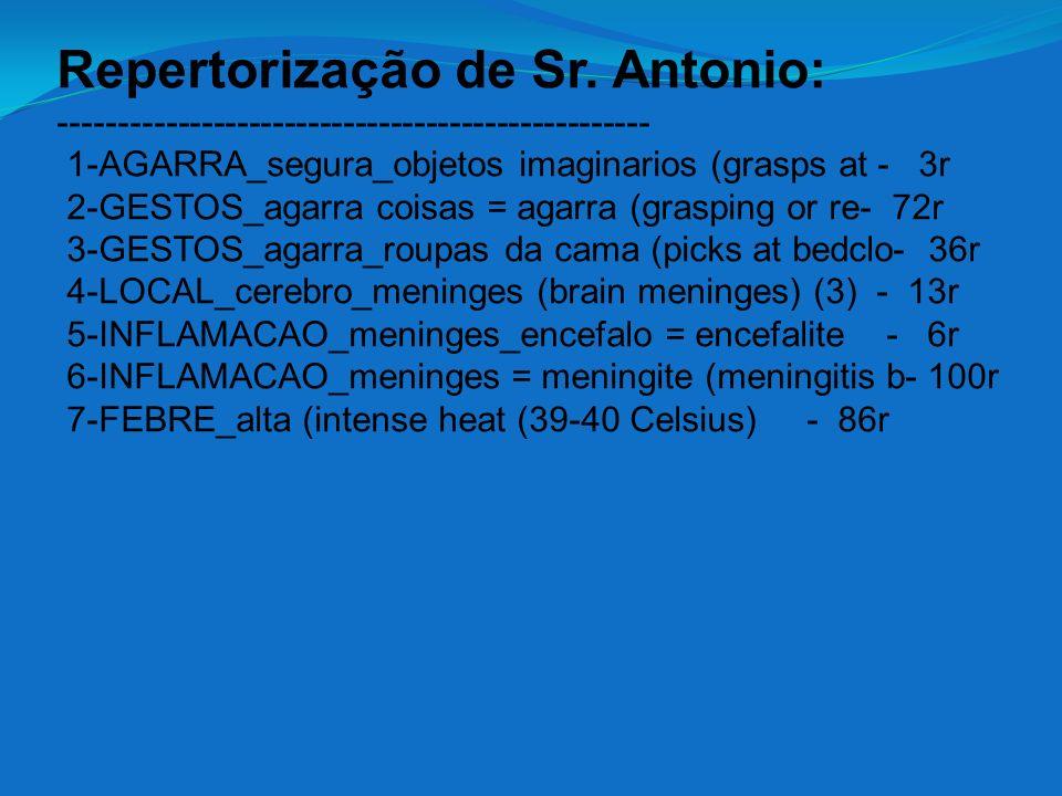 Repertorização de Sr. Antonio: