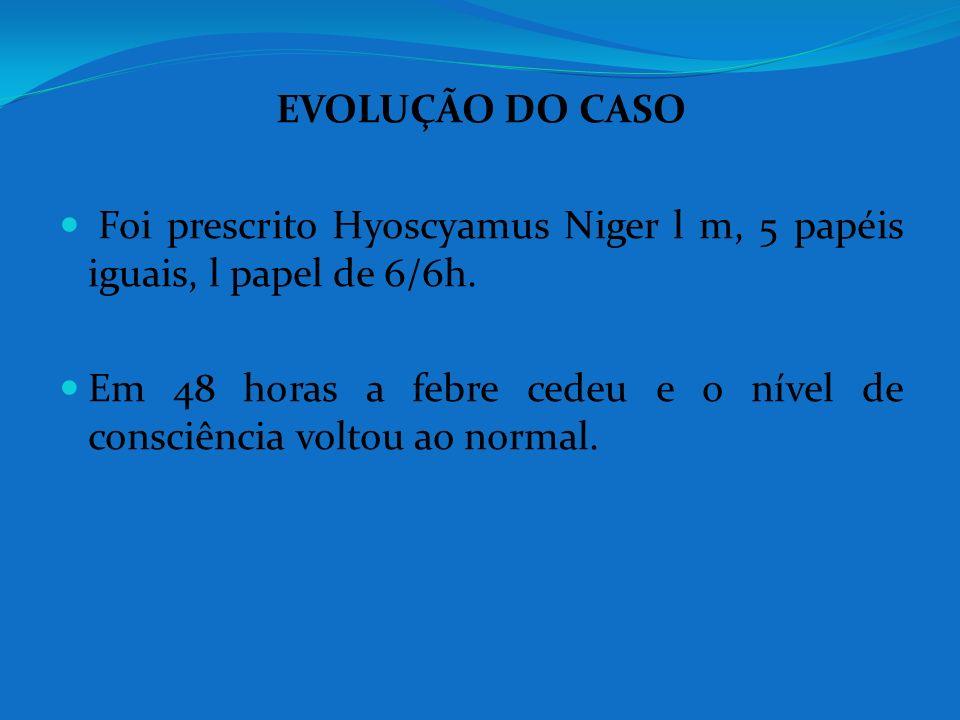 EVOLUÇÃO DO CASO Foi prescrito Hyoscyamus Niger l m, 5 papéis iguais, l papel de 6/6h.