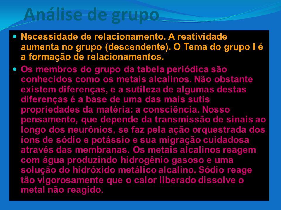 Análise de grupo Necessidade de relacionamento. A reatividade aumenta no grupo (descendente). O Tema do grupo I é a formação de relacionamentos.
