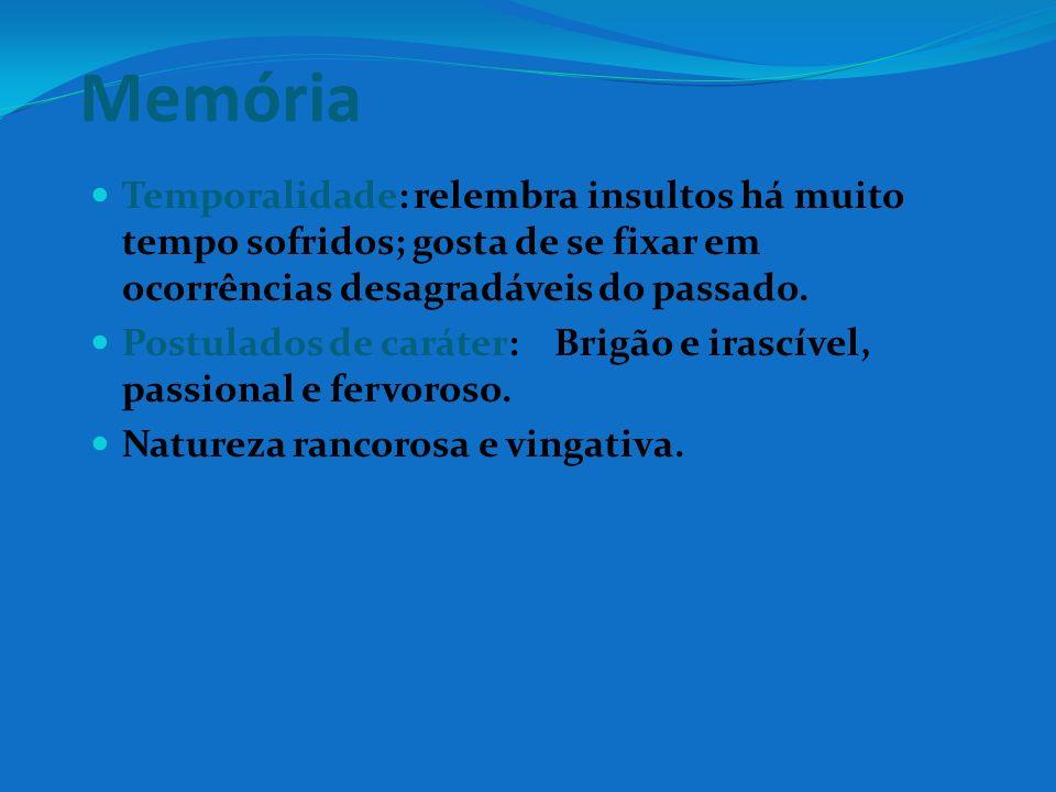 MemóriaTemporalidade: relembra insultos há muito tempo sofridos; gosta de se fixar em ocorrências desagradáveis do passado.
