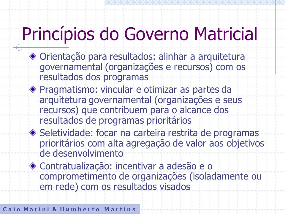 Princípios do Governo Matricial