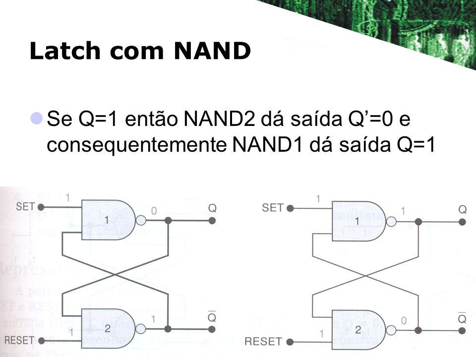 Latch com NAND Se Q=1 então NAND2 dá saída Q'=0 e consequentemente NAND1 dá saída Q=1