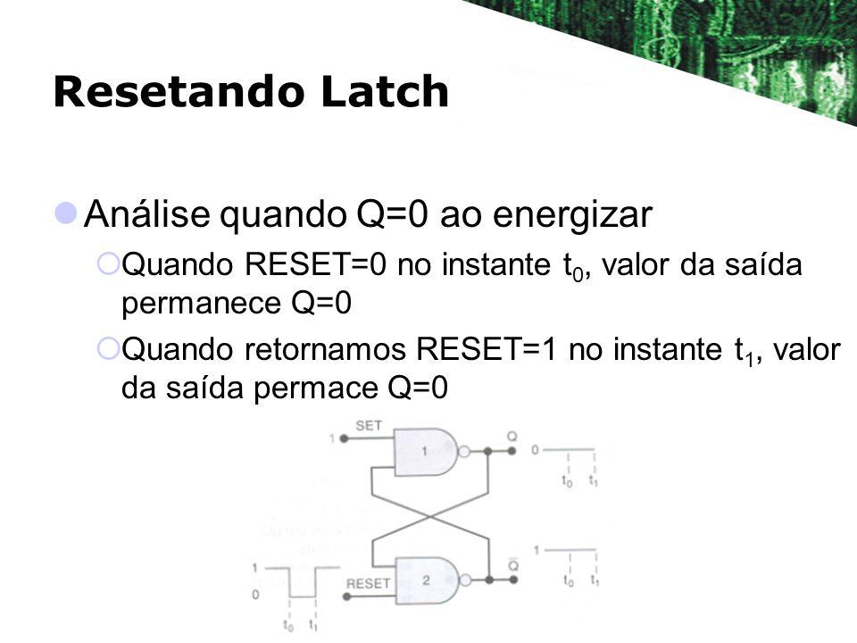 Resetando Latch Análise quando Q=0 ao energizar