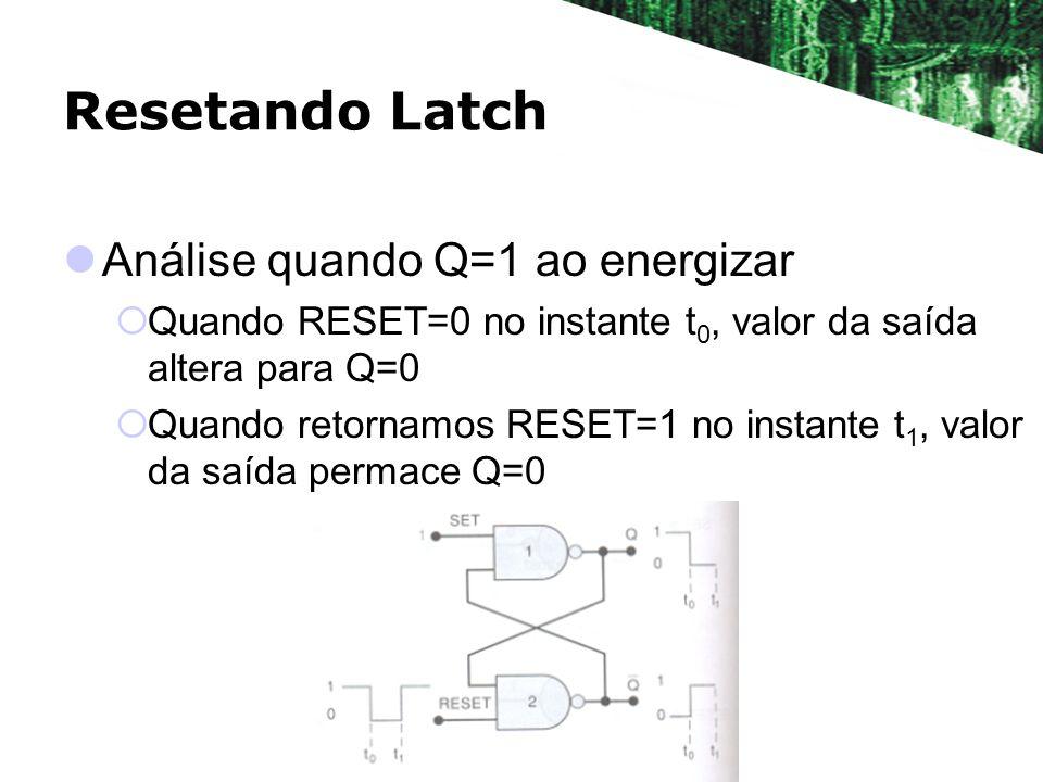 Resetando Latch Análise quando Q=1 ao energizar