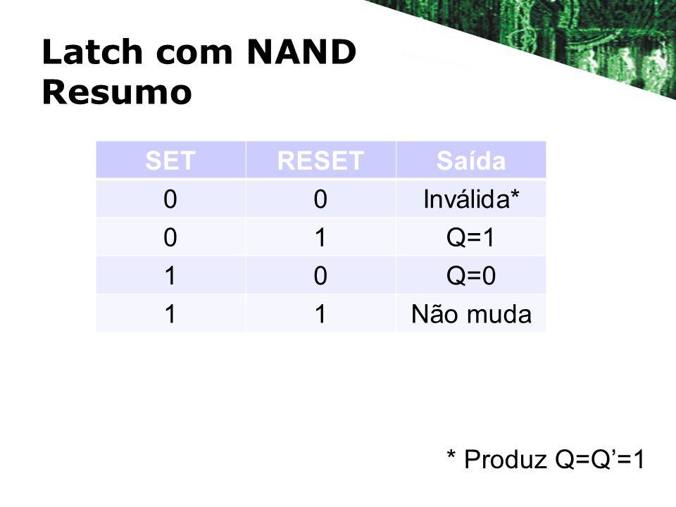 Latch com NAND Resumo SET RESET Saída Inválida* 1 Q=1 Q=0 Não muda
