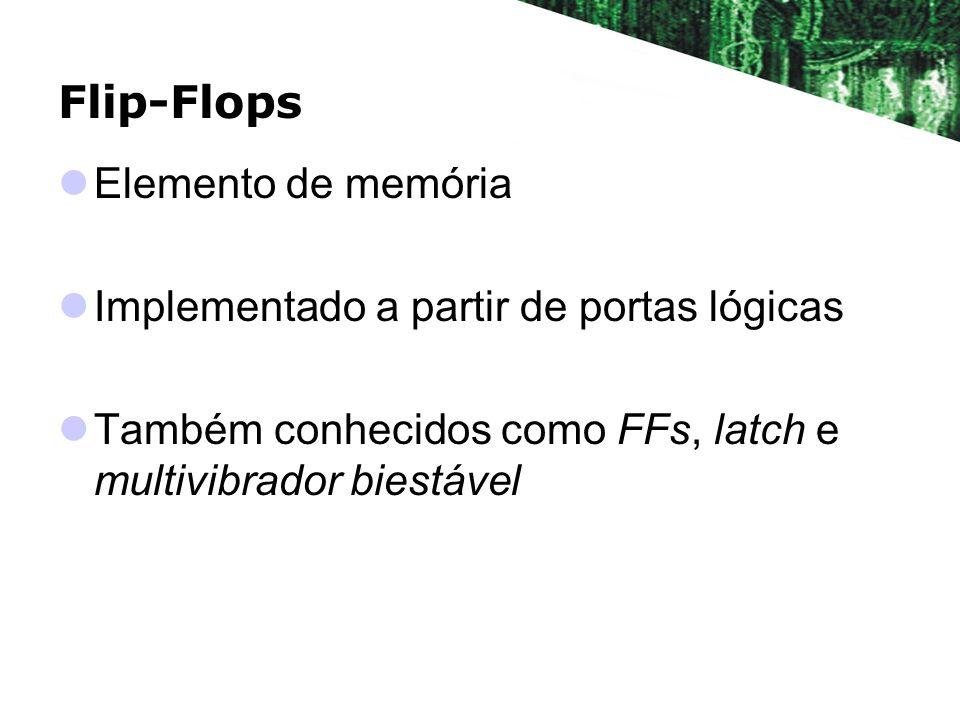 Flip-Flops Elemento de memória Implementado a partir de portas lógicas