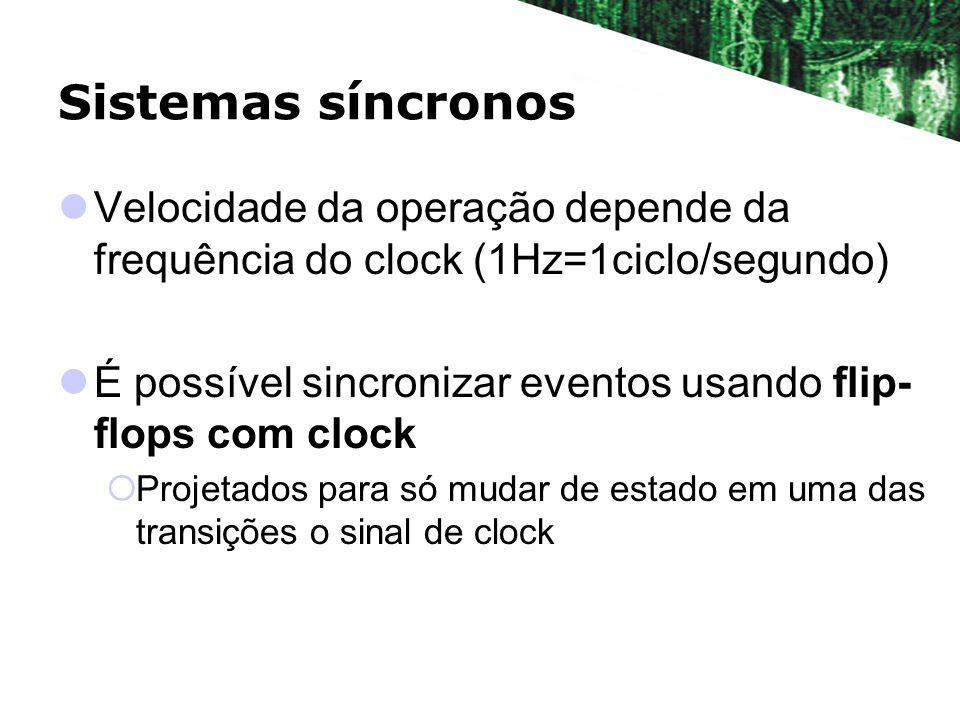 Sistemas síncronosVelocidade da operação depende da frequência do clock (1Hz=1ciclo/segundo)