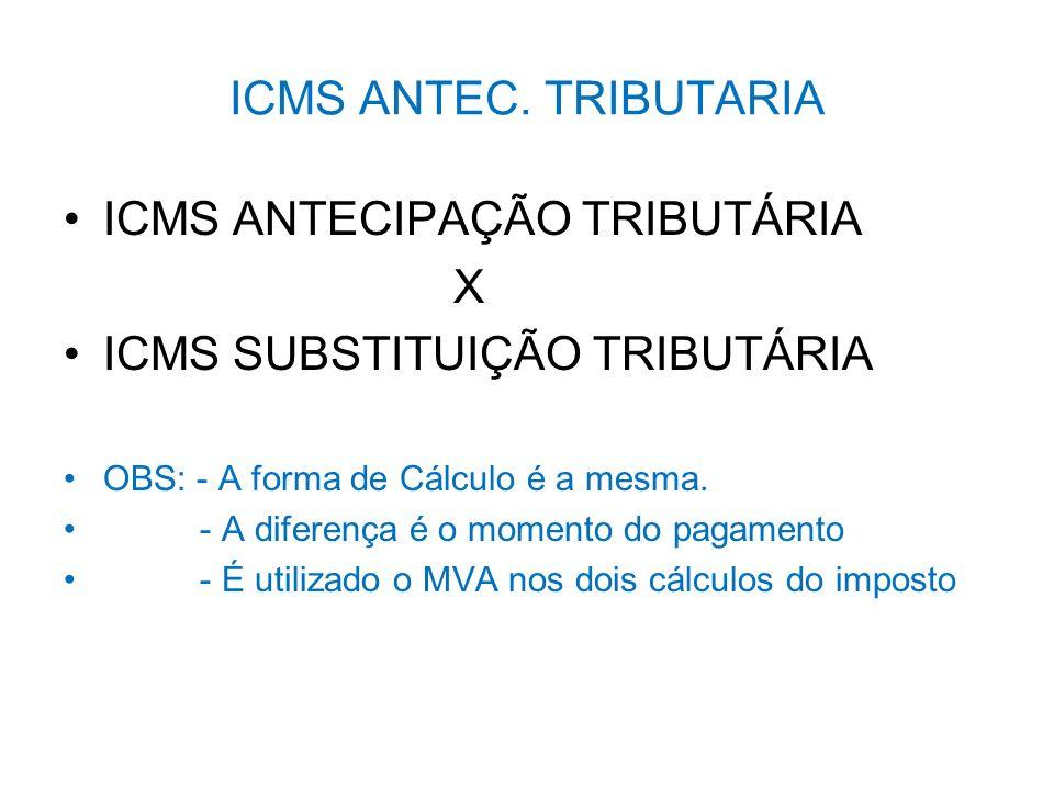 ICMS ANTECIPAÇÃO TRIBUTÁRIA X ICMS SUBSTITUIÇÃO TRIBUTÁRIA